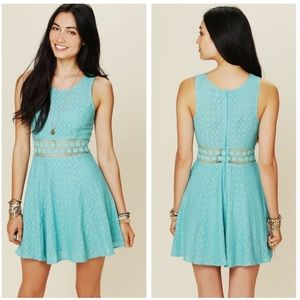 Free People • Fitted With Daisy Dress In Blue